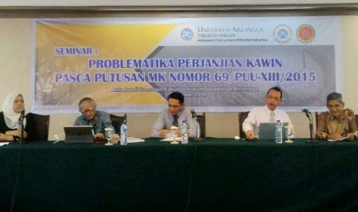 Prodi MKN dan HIMANAIR Tutup Kegiatan Tahun 2016 dengan Seminar Perjanjian Kawin Pasca Putusan MK Nomor 69/PUU-XIII/2015